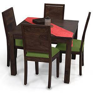 Arabia Square - Oribi 4 Seater Dining Table Set (Mahogany Finish, Avocado Green) by Urban Ladder