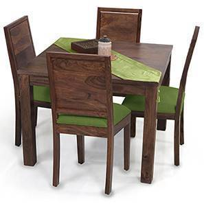 Arabia Square - Oribi 4 Seater Dining Table Set (Teak Finish, Avocado Green) by Urban Ladder