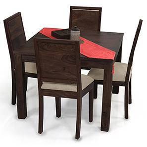 Arabia Square - Oribi 4 Seater Dining Table Set (Mahogany Finish, Wheat Brown)