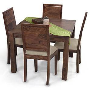 Arabia Square - Oribi 4 Seater Dining Table Set (Teak Finish, Wheat Brown) by Urban Ladder