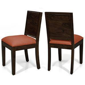 Oribi Dining Chairs - Set of 2 (Mahogany Finish, Burnt Orange)