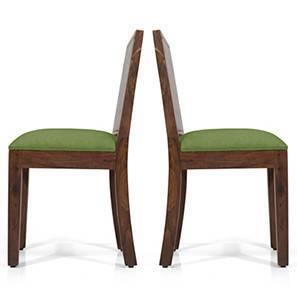 Oribi Dining Chairs - Set of 2 (Teak Finish, Avocado Green) by Urban Ladder