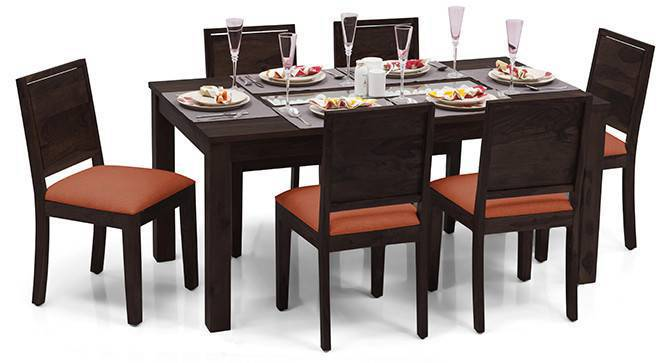 Brighton Large - Oribi 6 Seater Dining Table Set (Mahogany Finish, Burnt Orange) by Urban Ladder
