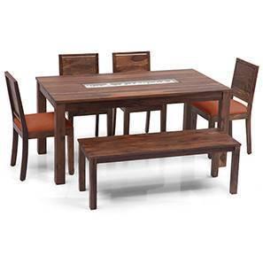 Brighton - Large Oribi 6 Seater Dining Table Set (With Bench) (Teak Finish, Burnt Orange) by Urban Ladder