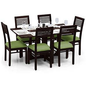 Danton 3-to-6 - Zella 6 Seater Folding Dining Table Set (Mahogany Finish, Avocado Green) by Urban Ladder