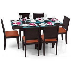 Danton 3-to-6 - Oribi 6 Seater Folding Dining Table Set (Mahogany Finish, Burnt Orange) by Urban Ladder