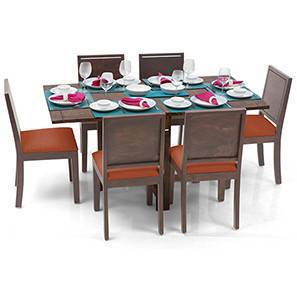 Danton 3-to-6 - Oribi 6 Seater Folding Dining Table Set (Teak Finish, Burnt Orange) by Urban Ladder