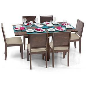 Danton 3-to-6 - Oribi 6 Seater Folding Dining Table Set (Teak Finish, Wheat Brown)