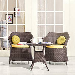 Calabah Patio Armchair & Table Set (Brown) by Urban Ladder