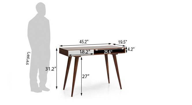 Roswell desk white teak finish 08
