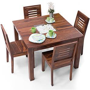Brighton Square - Capra 4 Seater Dining Table Set (Teak Finish) by Urban Ladder
