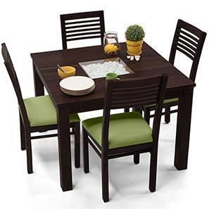 Exceptional Brighton Square   Zella 4 Seater Dining Table Set (Mahogany Finish, Avocado  Green)