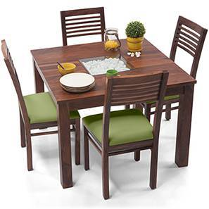 Brighton Square - Zella 4 Seater Dining Table Set (Teak Finish, Avocado Green)