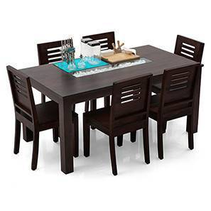 Brighton Large - Capra 6 Seater Dining Table Set (Mahogany Finish) by Urban Ladder