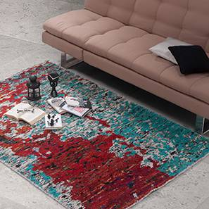 """Tapetos Hand Knotted Carpet (48"""" x 72"""" Carpet Size, Red & Turquoise)"""