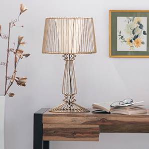 Pannier Table Lamp (Shiny Gold Base Finish, Conical Shade Shape, Gold Shade Color)