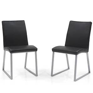 Delphine (Leatherette) Dining Chairs - Set of 2 (Black)