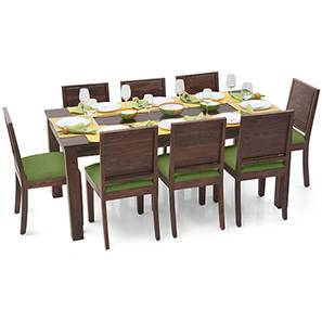 Arabia XL - Oribi 8 Seater Dining Set (Teak Finish, Avocado Green) by Urban Ladder