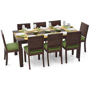 Arabia XL - Oribi 8 Seater Dining Set (Mahogany Finish, Avocado Green) by Urban Ladder
