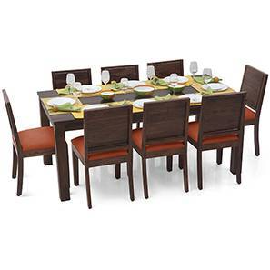 Arabia XL - Oribi 8 Seater Dining Set (Mahogany Finish, Burnt Orange) by Urban Ladder