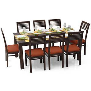Arabia XL - Zella 8 Seater Dining Set (Mahogany Finish, Burnt Orange)