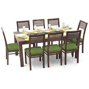 Arabia XL - Zella 8 Seater Dining Set (Teak Finish, Avocado Green)