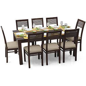 Arabia XL - Zella 8 Seater Dining Set (Mahogany Finish, Wheat Brown)