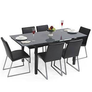 Lucerne 4-to-6 Extendable - Delphine (Leatherette) 6 Seater Dining Table Set (Dark Grey Finish)