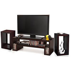 Euler's TV Unit & Side Tables Set (Mahogany Finish) by Urban Ladder