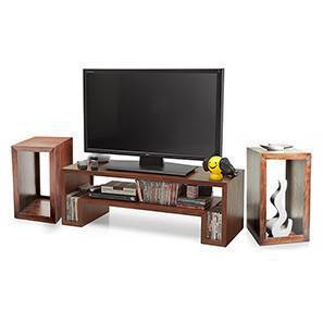 Euler's TV Unit & Side Tables Set (Teak Finish)