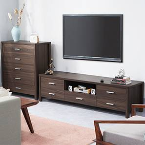 Norland TV Unit & Chest of Drawers Set (Dark Walnut Finish) by Urban Ladder