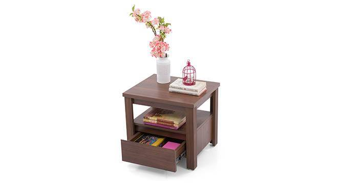 Alcott Bedside Table (Walnut Finish, With Drawer Configuration) by Urban Ladder