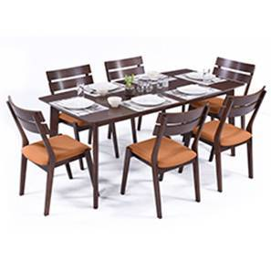 Magnus 6 seater dining table set steno chairs dark walnut 00 lp