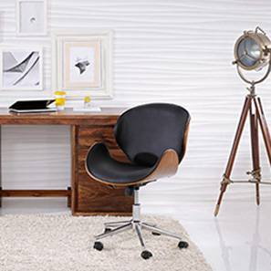 Emil Study Chair (Walnut Finish, Black)
