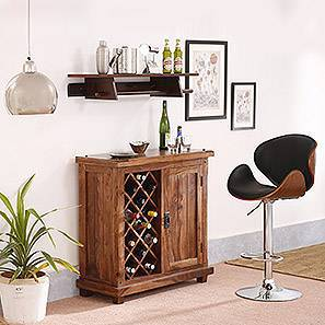 Emil Adjustable Height Swivel Bar Stool (Walnut Finish) by Urban Ladder