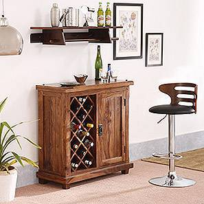Mcgillin Adjustable Height Swivel Bar Stool (Walnut Finish) by Urban Ladder