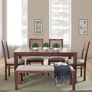Oribi Upholstered Dining Bench (Teak Finish, Wheat Brown) by Urban Ladder