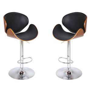 Emil Adjustable Height Swivel Bar Stools - Set of 2 (Walnut Finish)