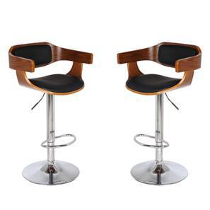 Chumley Adjustable Height Swivel Bar Stools - Set of 2 (Walnut Finish) by Urban Ladder