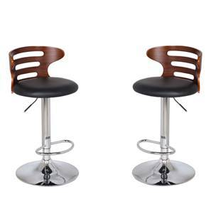 Mcgillin Adjustable Height Swivel Bar Stools - Set of 2 (Walnut Finish) by Urban Ladder