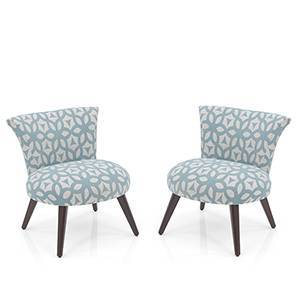 Robbins Lounge Chair - Set of 2 (Blue Lattice) by Urban Ladder