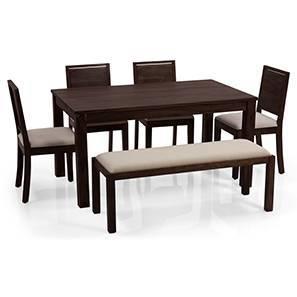 Arabia - Oribi 6 Seater Dining Set (With Bench) (Mahogany Finish, Wheat Brown)