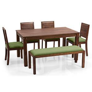 Arabia - Oribi 6 Seater Dining Set (With Bench) (Teak Finish, Avocado Green)