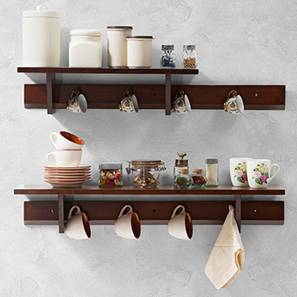 Ibex Kitchen Wall Shelf Set (Dark Walnut Finish)
