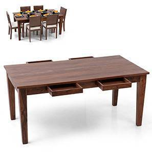 Oliver 6 Seater Storage Dining Table (Teak Finish)