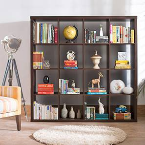 Boeberg Bookshelf (Dark Walnut Finish, 4 x 4 Configuration, Without Inserts) by Urban Ladder