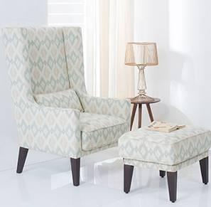 Morgen Wing Chair & Ottoman (Shoreline Ikat)