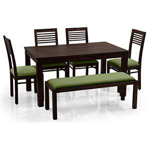 Arabia - Zella 6 Seater Dining Table Set (With Upholstered Bench) (Mahogany Finish, Avocado Green) by Urban Ladder
