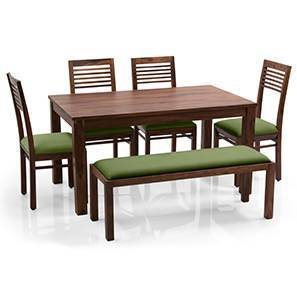 Arabia - Zella 6 Seater Dining Table Set (With Upholstered Bench) (Teak Finish, Avocado Green) by Urban Ladder