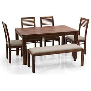 Arabia - Zella 6 Seater Dining Table Set (With Upholstered Bench) (Teak Finish, Wheat Brown)